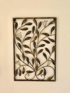 Handmade Iron Metal Wall Art Decor Mural Olive Leaves 60x40x1cm Brs