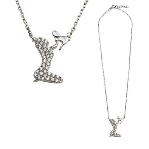 Sterling Silver Family Necklace w// CZ Stones Playing Mom and Baby Pendant