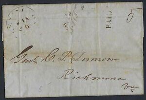 US 1848 LEXINGTON VA PAID 5 TO RICHMOND VA FOLDED LETTER