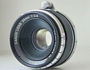 sehr-gut-Canon-35mm-f-2-8-MF-Objektiv-l39-Halterung-fuer-LTM-Leica-Kamera-aus-Japan