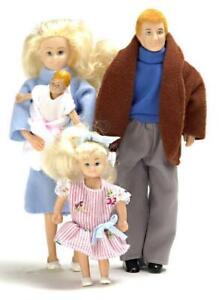 Puppenhaus-Miniatur-1-12-Massstab-Modern-Familie-mit-4-Menschen-Mum-Dad-Maedchen