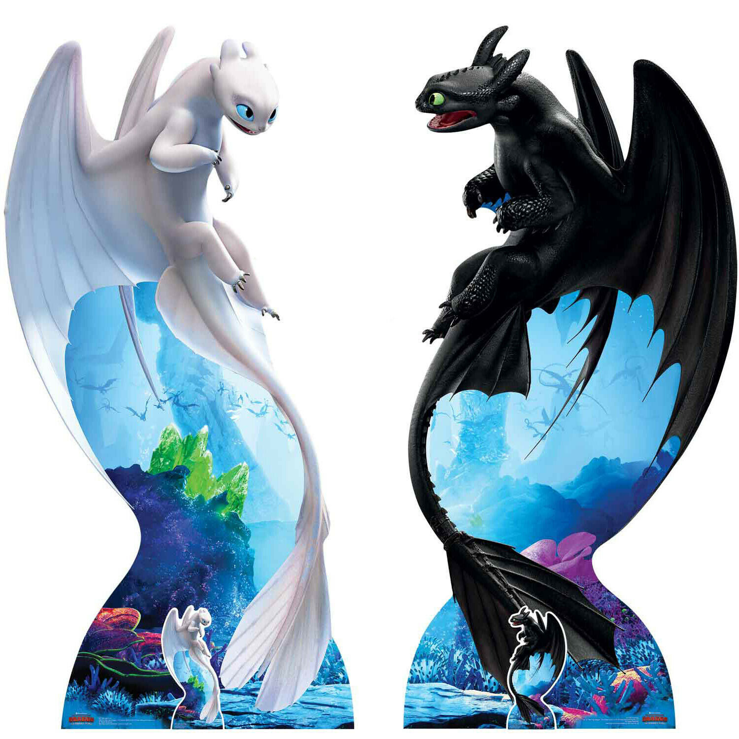 Toothless and Light Fury How to Train Your Dragon 3 Cardboard Cutouts - Set of 2