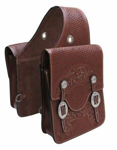 WESTERN TRAIL HORSE OR MOTORCYCLE SADDLE BAGS BAG HAND TOOLED BROWN LEATHER