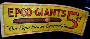 Vintage-Antique-Cigar-Sign-EPCO-GIANTS-Five-Cents-Cigar-Ad-Banner