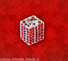 CHRISTMAS PRESENT BOW GIFT BOX PIN BROOCH~RED RHINESTONE CRYSTAL~HOLIDAY JEWELRY