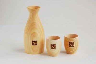 Home & Garden Yamako Wooden Sake Bottle And Two Cups Set Guinomi 82701 Be Novel In Design