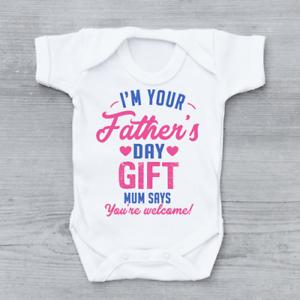 Joyeuse Fête des pères papa maman dit que vous êtes Bienvenue Filles Bébé Veste Grow Body 1