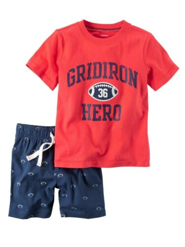 Red//Navy Carters Baby Boy 2-Piece Gridiron Hero Football T-Shirt /& Short Set