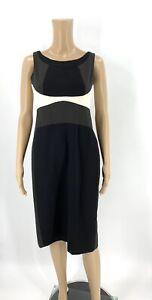 Anne Klein Womens Dress Size 2 Black Sheath Colorblock Wool Blend Sleeveless I12