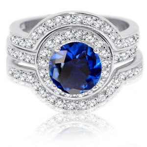 Large-Halo-Round-Blue-Sapphire-Sterling-Silver-Wedding-Engagement-Three-Ring-Set