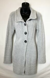 Old-Navy-Women-039-s-Tunic-Length-Gray-Button-Up-Sweater-w-Foldover-Collar-Sz-M