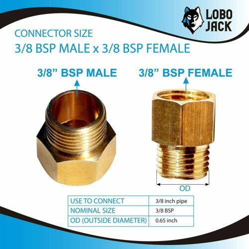 """2 Pieces Brass Pipe Fitting Connector 3//8/"""" BSP Male to 3//8/"""" BSP Female"""