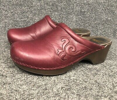 Dansko Womens Black Leather Wedge Heel Slip On Shoes 40 Size 9.5 10