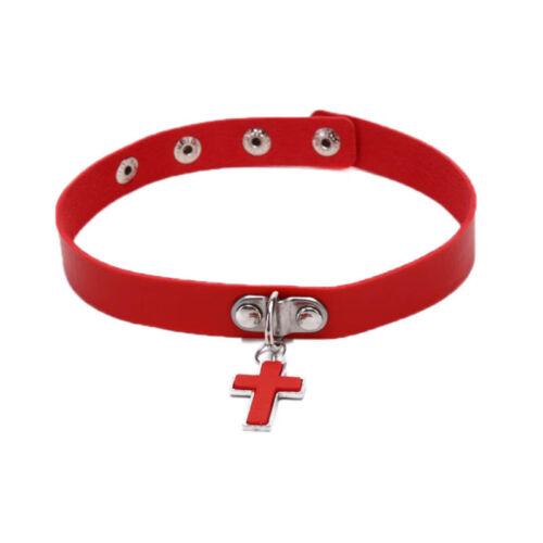 Fashion Women Punk Rock PU Leather Cross Gothic Choker Necklace Jewelry Gift.hc