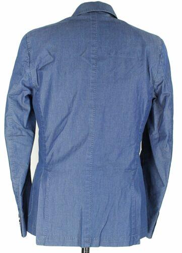 Size 38-42 Navy Chambray Cotton Double-Breasted Blazer Daniele Papa Italy