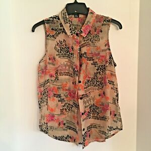 Forever 21 sheer sleeveless casual blouse size M tan & black abstract print top