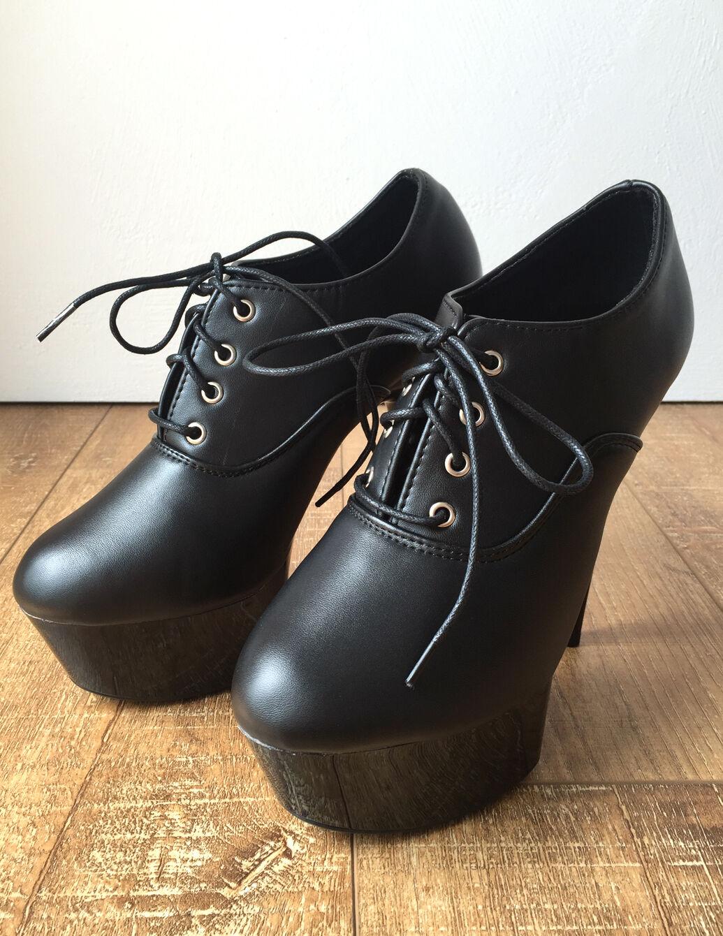 15cm Platform Ankle Oxford Bootie Extreme Hi Heel Goth Runway Custom Color