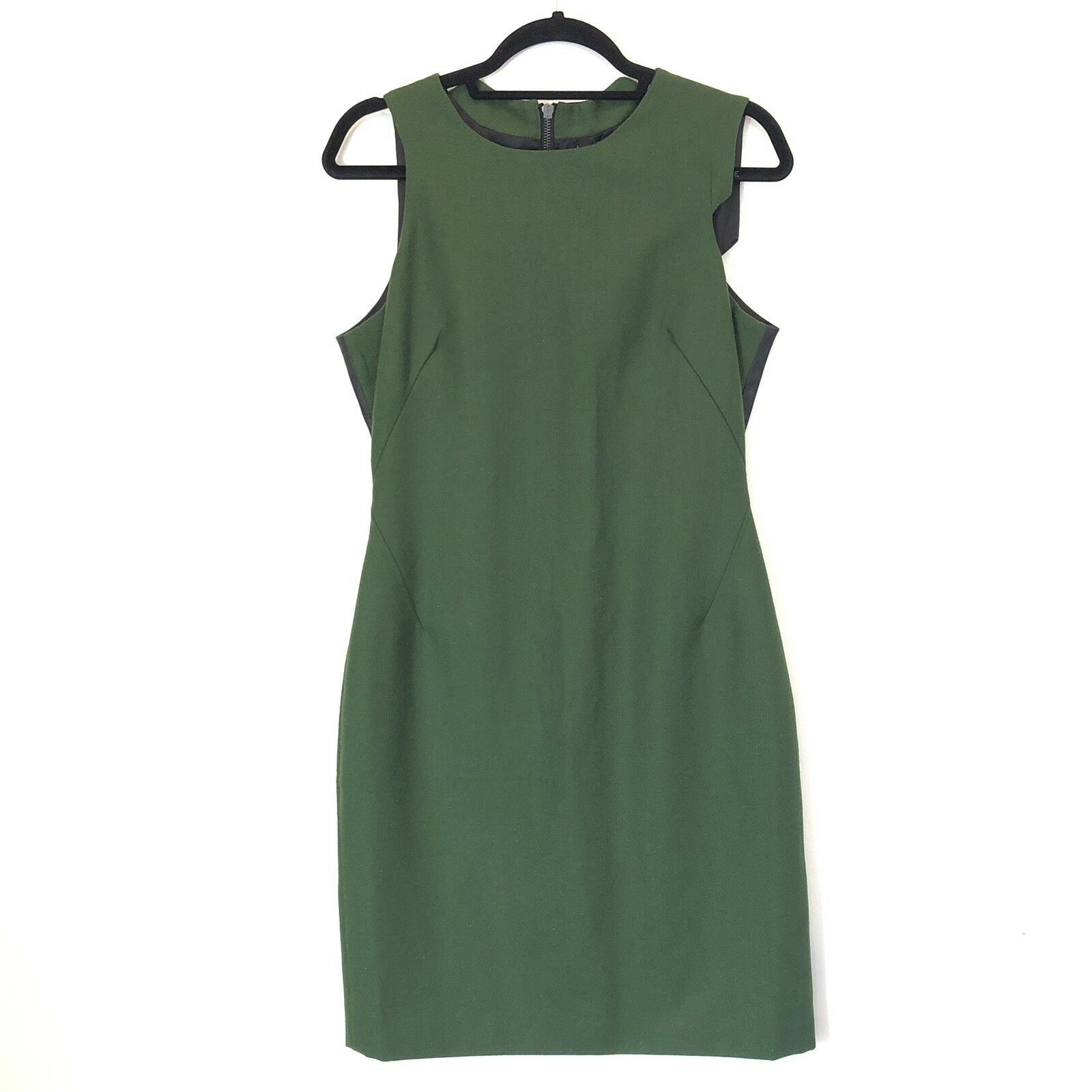 W118 Walter Baker Women Size M Green Wool Sheath Dress Vegan Leather