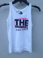 $40 Zara Terez White Tank With Pink Logo Print Super Soft Size S Or 7/8