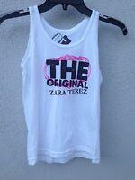 $40 Zara Terez White Tank With Pink Logo Print Super Soft Size S Or 7/8
