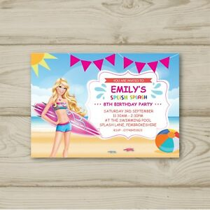 Image Is Loading Barbie Beach Pool Birthday Party Invitations Personalised