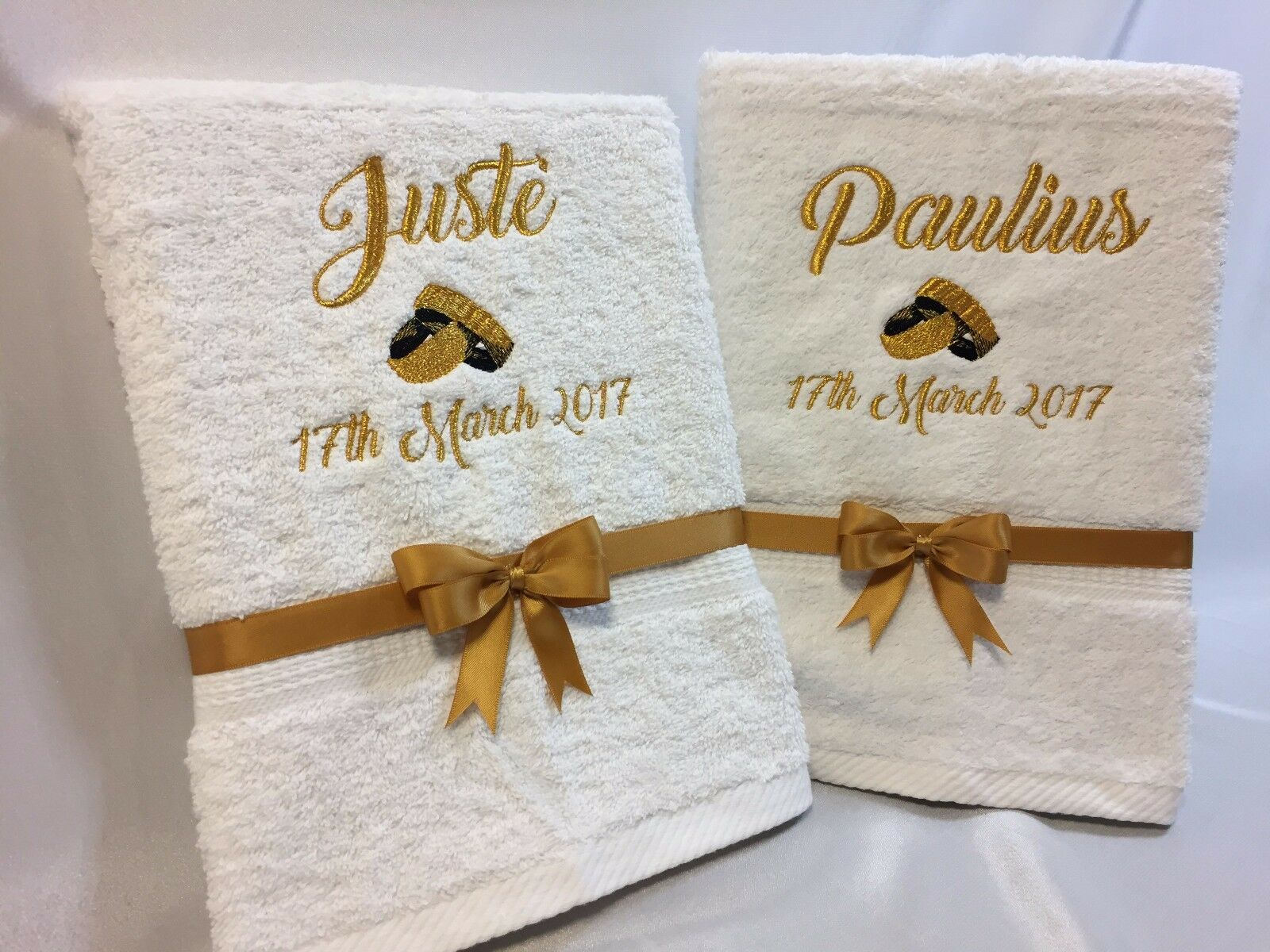 Personalised Wedding Named 2x 2x 2x Bath Or Hand Towel Gift Set Engagement Anniversary 852dcf