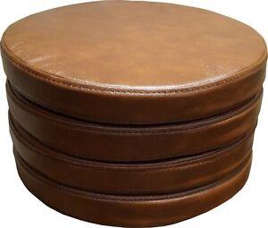 Runde-Braun-Sitzkissen-Echt-Lederkissen-Sitzpolster-Sessel-Stuhle-Bar-Hocker