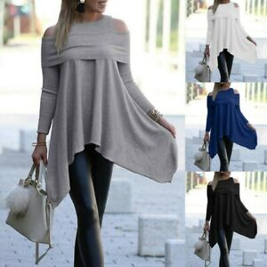 Women-Cold-Shoulder-Frill-Jersey-Loose-Blouse-Pullover-Tunic-Tops-UK-Size-8-22