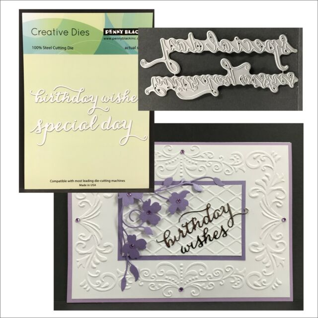 Birthday Words Metal Die Cuts Splendid Wishes Penny Black Cutting Dies 51-107