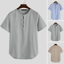 Men Shirt Chinese Ethnic Traditional Kung Fu Linen Cotton Short Sleeve Top Bt15