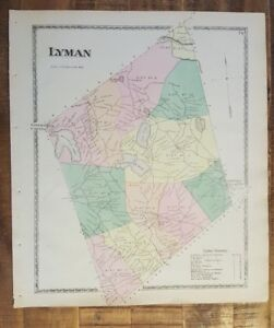 Lyman Maine Map.Antique Colored Map Lyman Maine Atlas York County Me 1872 Ebay