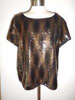 Yansi Fugel Black Bronze Sequin Covered Short Sleeve Top L $198