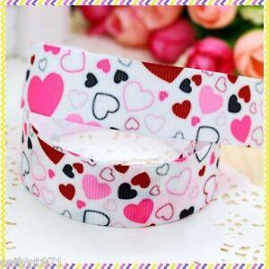 Pink-amp-Red-Random-Hearts-Grossgrain-Ribbon-22mm-1M-2M-3M-4M-or-5M-U-Choose