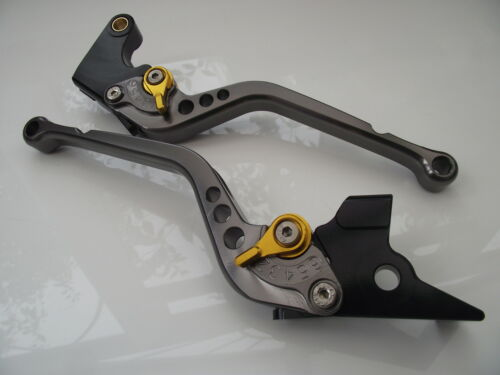 CNC levers long titanium//gold adjusters F14//T333 2007-15 Triumph TIGER 1050