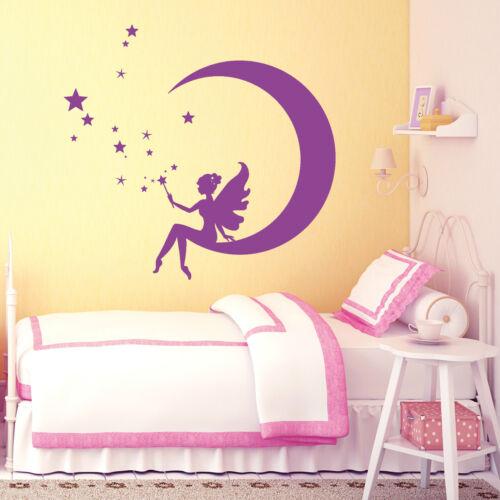 10925 Wandtattoo Loft Zauber Fee auf einem Mond Sterne Elfe Märchen Mädchen