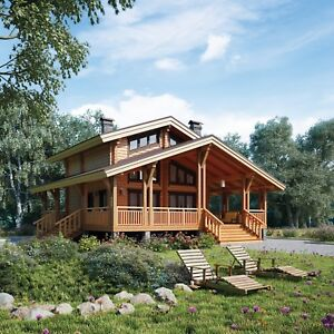 Details about LAMINATED LOG HOUSE KIT ECO FRIENDLY WOOD PREFAB DIY BUILDING  CABIN HOME GLULAM