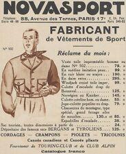 Z9357 NOVASPORT Vetements de Sport -  Pubblicità d'epoca - 1936 Old advertising