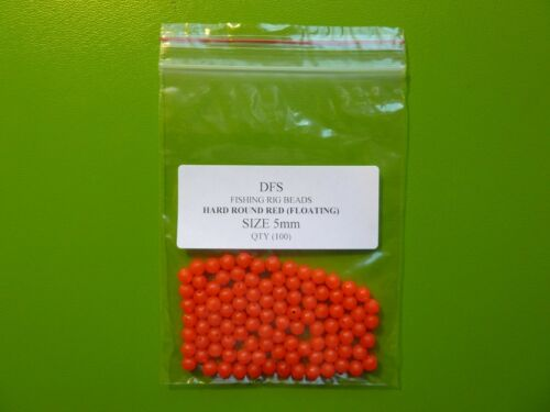 100 DFS 5mm HARD ROUND RED FISHING RIG BEAD, LURES