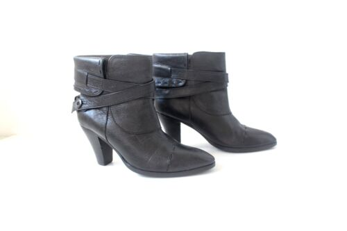 Pull Leather Real Heel Borg Björn Black Eu37 On Vintage Boots Ankle Uk4 Women's wxHIgg