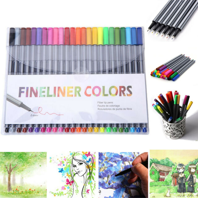 Fineliner Pens 10 Mixed Colours 0.5mm nib by Chiltern Wove