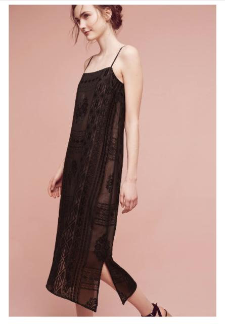 b18642e800c6 NEW Anthropologie Floreat Embroidered Luna Slip Dress Black w Nude Lining  $168 L