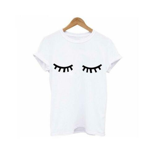 Eyelash pocket print Women Tshirts Funny T-shirt For Lady Top Tee Hipster