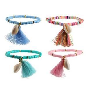 Boho-Folk-custom-Shell-Bracelet-Tasseled-Soft-Pottery-Bracelet-Girls-Gift-UK