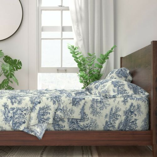 Toile Toile De Jouy Winter 100/% Cotton Sateen Sheet Set by Roostery