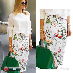 256fe58867 UK Women Plus Size Floral Bodycon Pencil Ladies Stretch Office Midi ...