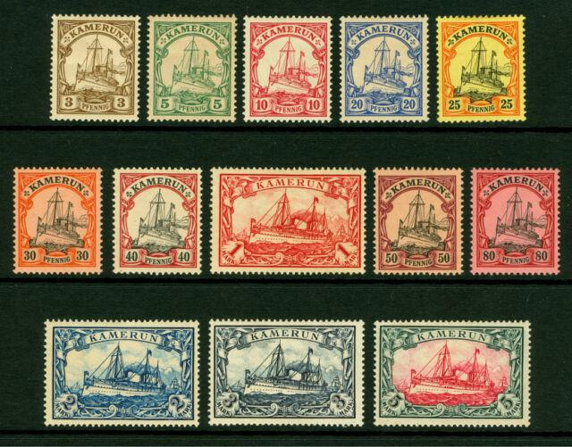 German Colonies - CAMEROUN 1900  Kaiser's YACHT set  Sc# 7-19  mint MH