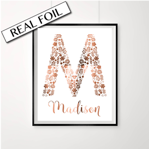 M capital letter poster in copper personalised baby shower gift image is loading m capital letter poster in copper personalised baby negle Choice Image