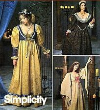 SIMPLICITY SEWING PATTERN 8192 OOP MISSES RENAISSANCE DRESS GOWN SIZES 10-14