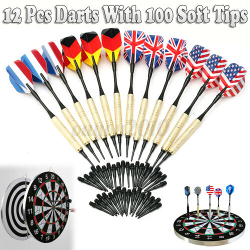 12Pcs Of Soft Tip Darts W//100 Extra Tips Professional for Electronic   e