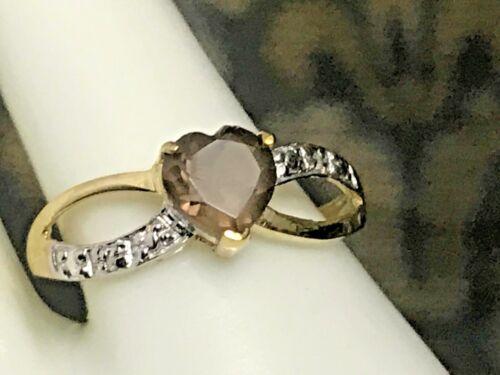 10K GOLD .90 CARAT NATURAL SMOKEY TOPAZ /& DIAMOND RING RING BOX   SIZE 6.75